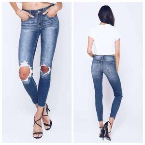 New dark distressed skinny jeans